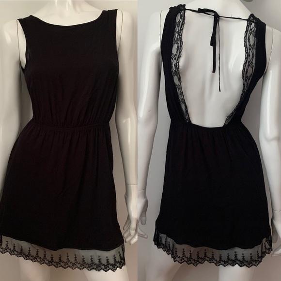 Garage Black Lace Open Back Lined Dress, XS